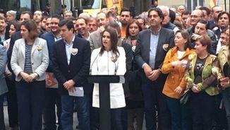 Arrimadas a l'acte que Ciutadans ha convocat davant del palau de la Generalitat Valenciana