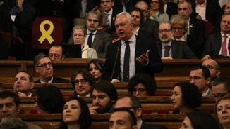 Imatge de Santi Rodríguez, diputat del PP, en la seva intervenció al Parlament, el 17 de gener de 2018 (horitzontal).