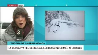 Connexió amb Bagà, a la boca sud del túnel del Cadí, per veure els efectes de la gran nevada