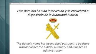 El logotip de la Guàrdia Civil en una pàgina del referèndum clausurada