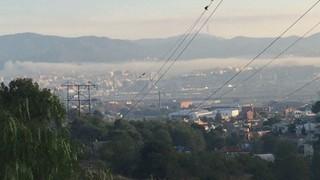 Fum de l'incendi de Sant Feliu de Llobregat des de Sant Boi