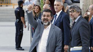 Jordi Sànchez i Jordi Pina arribant a l'Audiència Nacional
