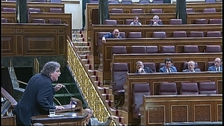 Joan Tardà carregant contra el ministre Wert durant la seva intervenció d'avui, dimecres, al Congrés