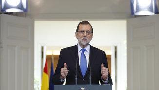 Mariano Rajoy, durant l'última roda de premsa posterior al Consell de Ministres abans de les vacances
