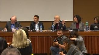 Rafael Ribó, David Bondia, José Antonio Martín Pallín i Anaïs Franquesa, aquest dilluns durant l'acte a la seu de l'ONU de Ginebra
