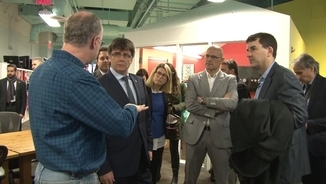 Carles Puigdemont en la seva visita al Cambridge Innovation Centre
