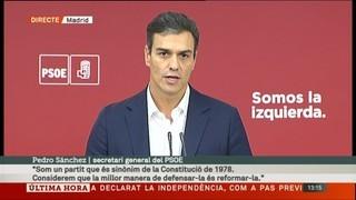 """Pedro Sánchez: """"He arribat a un acord amb el president Rajoy per obrir un procés per reformar la Constitució"""""""