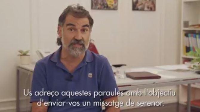 Captura del vídeo que ha fet públic Jordi Cuixart després de l'ordre de presó