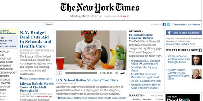 "Imatge de l'edició digital de ""The New York Times"""