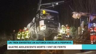 Commoció per l'accident entre un autobús escolar i un tren regional, ahir, prop de Perpinyà