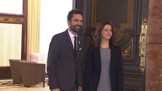 El president del Parlament, Roger Torrent, aquest divendres amb Inés Arrimadas
