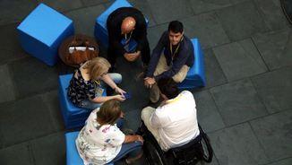David Bonvehí, Maria Senserrich i Marc Castells, entre d'altres, reunits al Palau de Congressos, durant l'assemblea del PDeCAT (ACN)