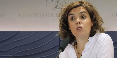 Soraya Sáenz de Santamaría ha comparegut en roda de premsa al Congrés. (Foto: EFE)