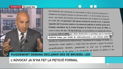Puigdemont demana declarar des de Brussel·les per videoconferència