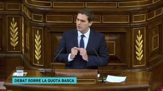 Enfrontament entre Rivera i Montoro durant el debat de la quota basca al Congrés