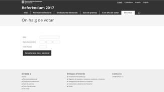 Imatge del web en què s'informa els ciutadans del local on podran votar l'1-O