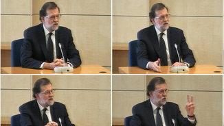 Diversos moments de la declaració de Rajoy a l'Audiència Nacional (EFE)