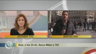 """El Barça es prepara per rebre el Milan mentre l'afició """"rossonera"""" ja es passeja per Barcelona"""