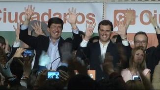 Juan Marín i Albert Rivera celebren el resultat de C's