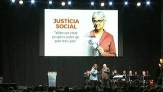 Rita Marzoa i Arcadi Oliveres, durant l'homenatge a Muriel Casals al Parc de la Ciutadella