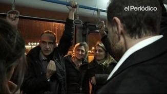 Marginedas arribant a l'aeroport de Barcelona després del seu segrest