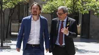 Quim Torra rep Pablo Iglesias al Palau de la Generalitat