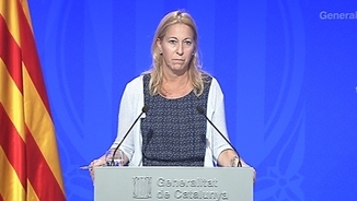 Neus Munté, portaveu del govern, en la roda de premsa posterior al Consell Executiu d'aquest dimarts