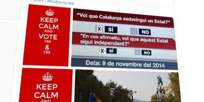 """Keep calm and vote yes & yes"", un dels missatges que ha circulat per Twitter."