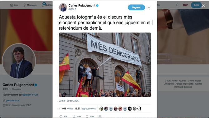 """Puigdemont: """"Els molesten pancartes que diuen 'Més democràcia' i a Madrid canten el 'Cara al sol'"""""""