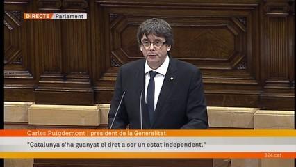 """Puigdemont: """"Demano al Parlament que suspengui la declaració d'independència per emprendre un diàleg les properes setmanes"""""""