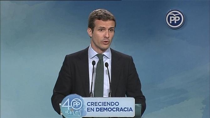 Casado (PP) diu que Puigdemont pot acabar com Companys el 1934 si declara la independència