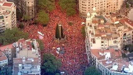Imatges aèries de la manifestació de la Diada de l'11 de Setembre