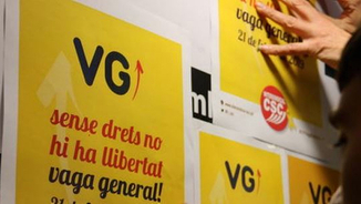 Cartells de l'anterior vaga general de la Intersindical, el 21F