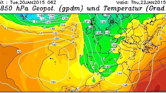 Mapa de temperatures a 850 hPa. Font: wetterzentrale.