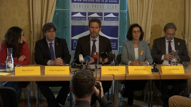 JxCat, ERC i la CUP defensen junts a Ginebra la demanda dels diputats presos a l'ONU