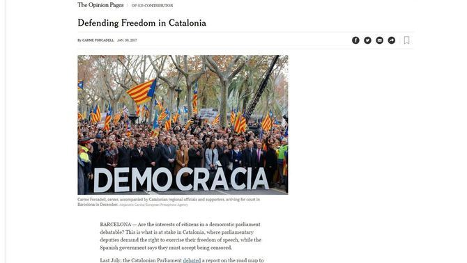 "L'article de Forcadell a ""The New York Times"""