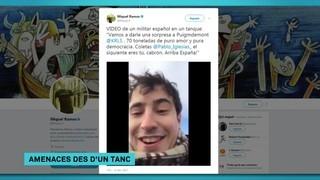 Un home enfilat en un tanc amenaça Puigdemont i Iglesias