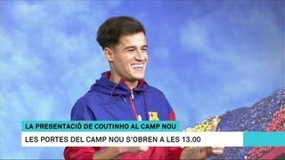 Cues per a la presentació al Camp Nou del darrer fitxatge del Barça: el brasiler Philippe Coutinho