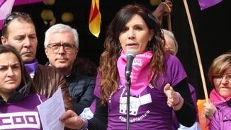 """""""La data del 8M és nostra. Ens volem vives, feministes, combatives i rebels"""". Lectura del manifest"""