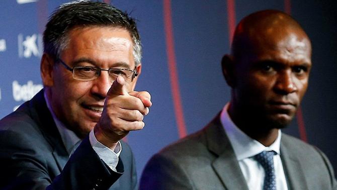 Josep Maria Bartomeu i Eric Abidal han rebaixat la tensió després d'una reunió