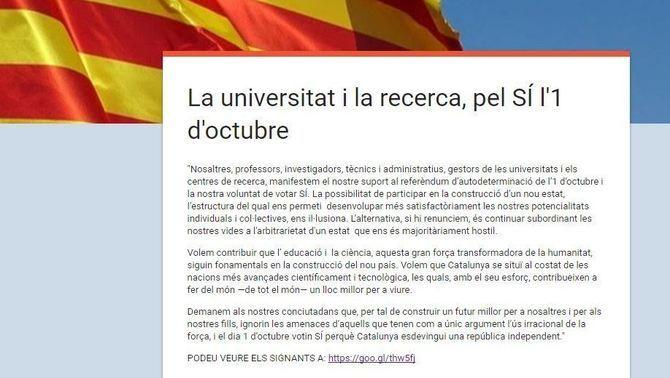 """Uns 1.800 professors i investigadors firmen un manifest a favor del """"sí"""" l'1-O"""