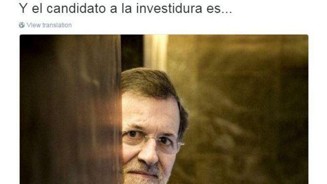 El PP esborra el sorprenent tuit amb què ha anunciat que Rajoy anava a la investidura