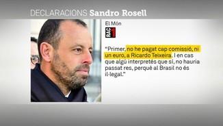 """Sandro Rosell: """"Soc innocent al 100%, no hi ha cas"""""""
