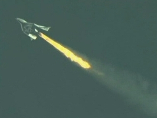 "La nau ""SpaceShipTwo"", de Virgin Galactic."