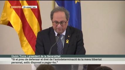 Conferència de Quim Torra i Carles Puigdemont a Brussel·les sobre el judici de l'1-O