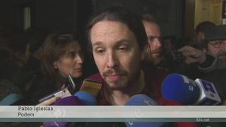 Declaracions a la sortida Sánchez  Iglesias rajoy