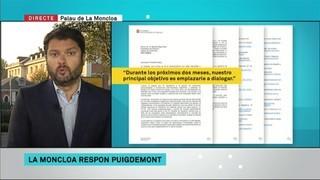 Primeres reaccions del govern de Rajoy a la resposta de Puigdemont
