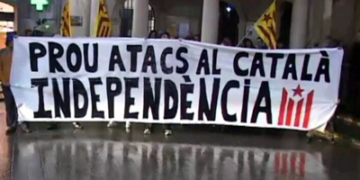 Pancarta en defensa del català